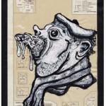 La France gerbe, 2001. Technique mixte, 13,5 x 21 cm.