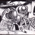 Science Fiction, 2001. Dessin original stylo, 13,5 x 15 cm.