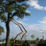"""""""Echelle relative n°2"""", 2012 Branche de Chêne, Buis, lasure H/L/l : 520/245/130 cm, Siège de l'entreprise Samsic (35)"""