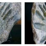 Sans titre ou,  Ceci n'est pas un cendrier, l'empreinte écologique décontextualisée, ceci n'est pas la main de Dieu, développement hyperdurable, main basse sur les shampoings «Ushuaïa», tu es pierre et dans cette pierre: 30 jours de fesses talquées, éco tartufferie appliquée, souvenirs totaux (Merci P. Verhoeven), Mr et Mme Detalc ont un fils, fossile anachronique, et paf.   2009 Pierre de talc, L/l/h: 20x30x15cm