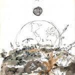 Sans titre, 2008. Stylo, brou de noix, encre, 20 x 27,5 cm.