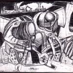 Science Fiction, 2001. Dessin original stylo, 13,5 x 15 cm.